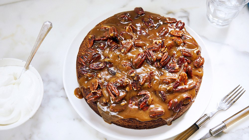Toasted Pecan Torte with Butterscotch Topping