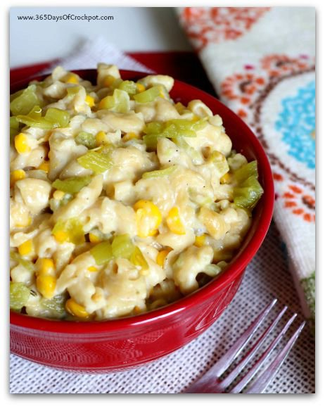 Slow Cooker Pepper Jack Mac with Green Chiles and Corn