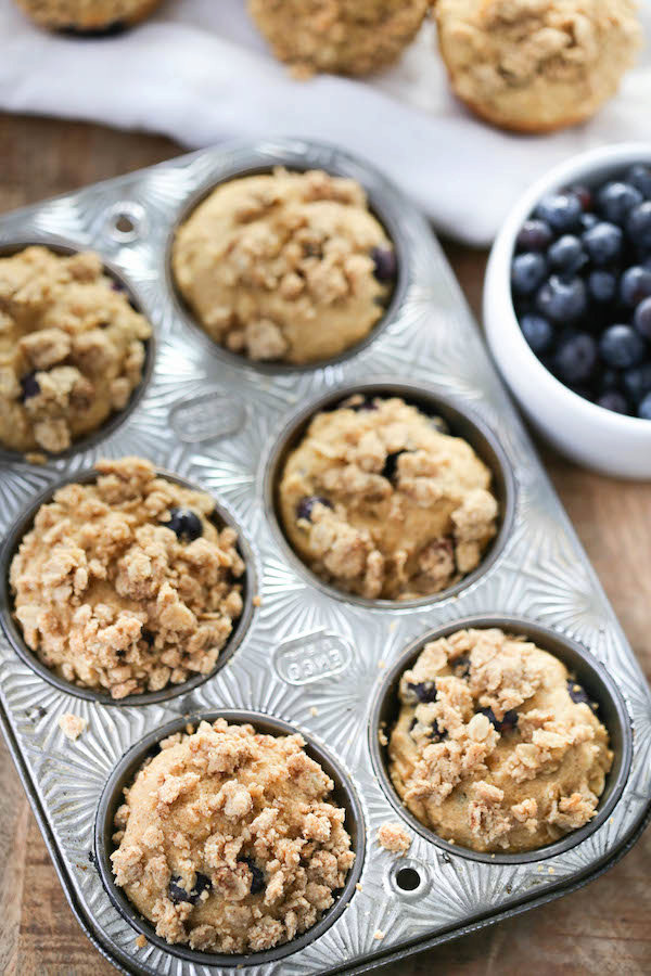 Whole Grain Blueberry Muffins (and refined sugar free!)