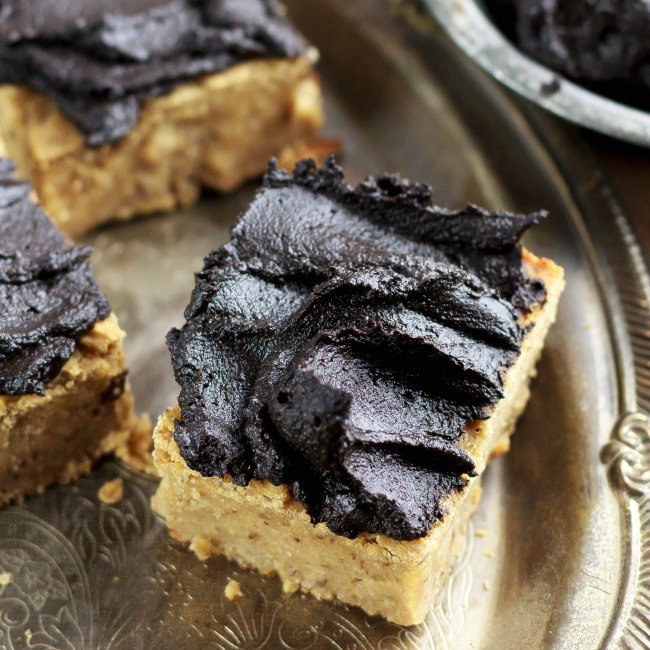 Peanut Butter Protein Blondies with Fudge Frosting