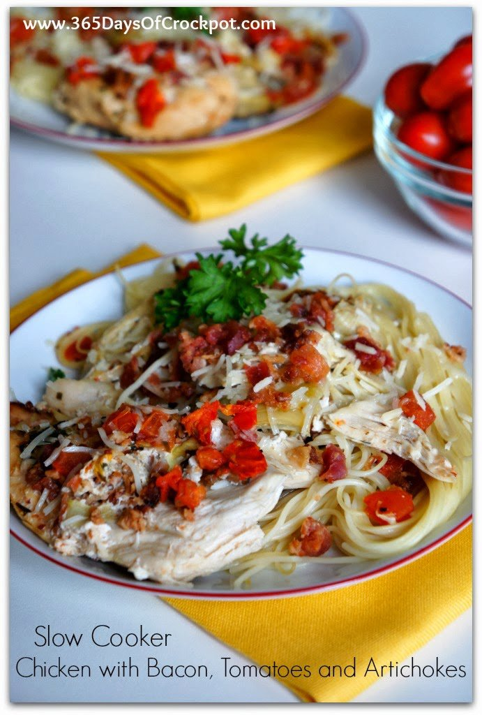 Slow Cooker (crock-pot) Chicken with Bacon, Tomatoes and Artichokes