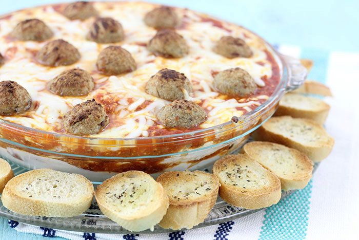 Perfectly Cheesy Layered Meatball Dip