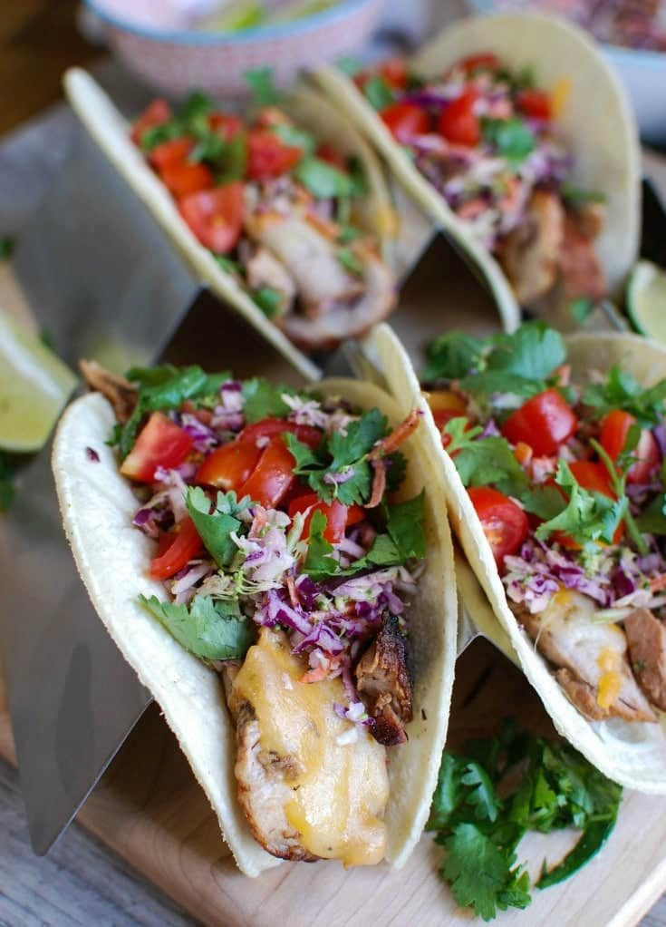 Asian Pork Tacos with Spicy Slaw