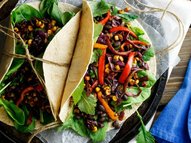 Spiced Soft Tacos with Black Beans, Corn and Cabbage