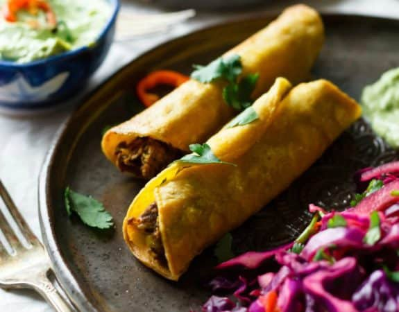 Easy Vegan Rolled Tacos with Avocado Dipping Sauce