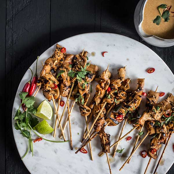 King Satay with Spicy Peanut Ginger Sauce