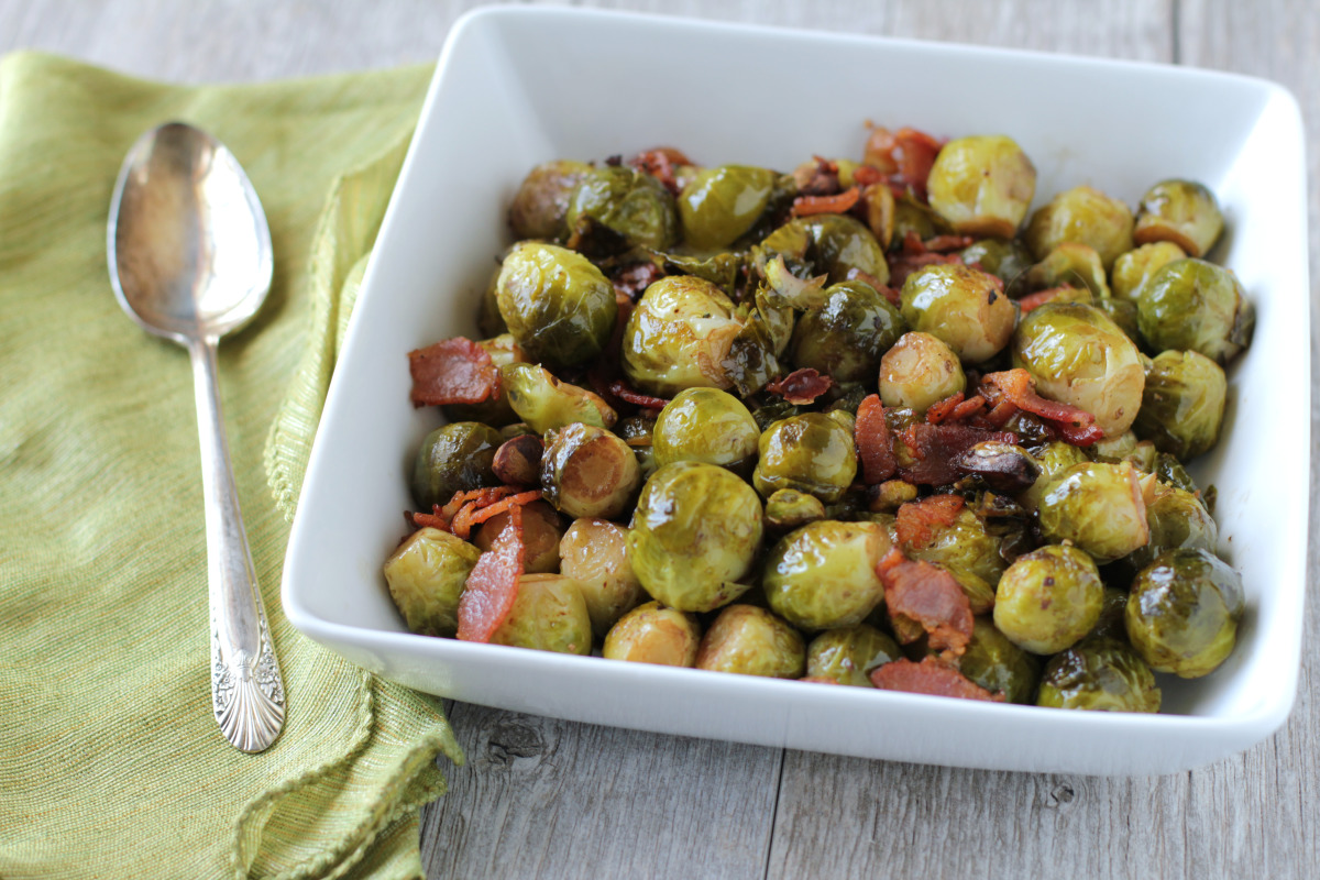 Brussels Sprouts With Bacon, Pistachios and Balsamic Vinegar