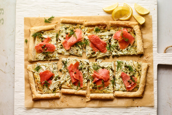 Smoked Salmon, Fennel and Herbed Mascarpone Tart