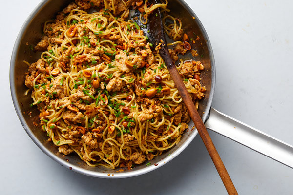 Spicy Sesame Noodles With Chicken and Peanuts