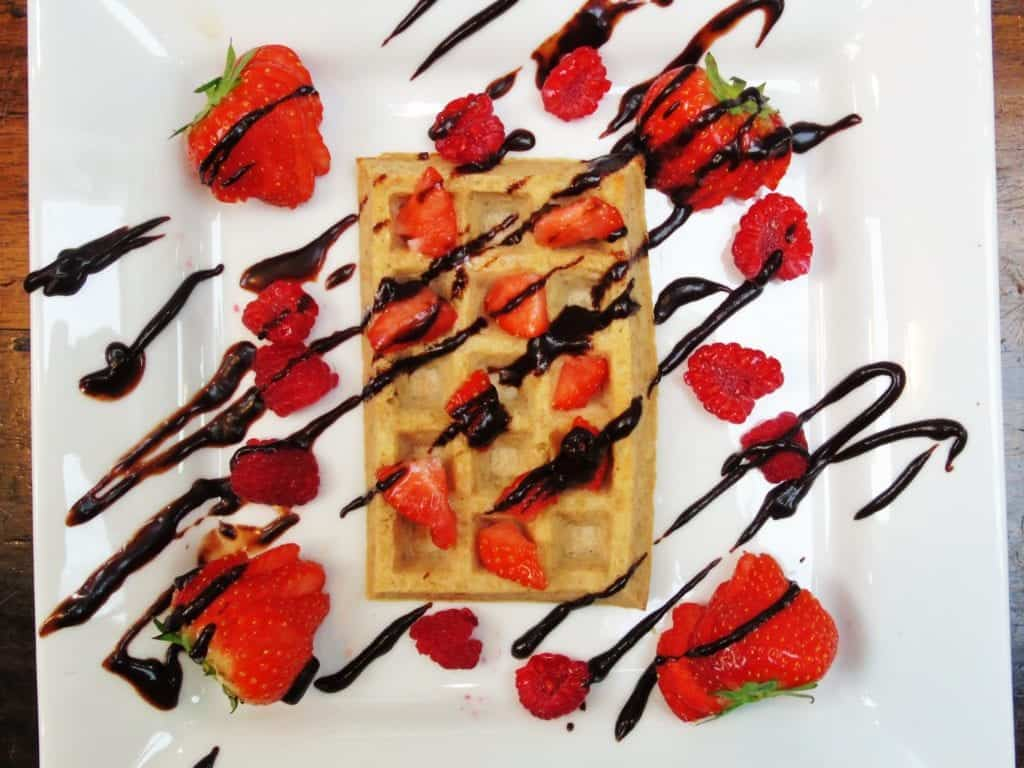 Syn Free Waffles with Fresh Berries and Chocolate